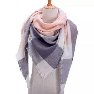 Accessories - NEW Fringe Blanket Scarf Shawl in Peach&Grey Plaid